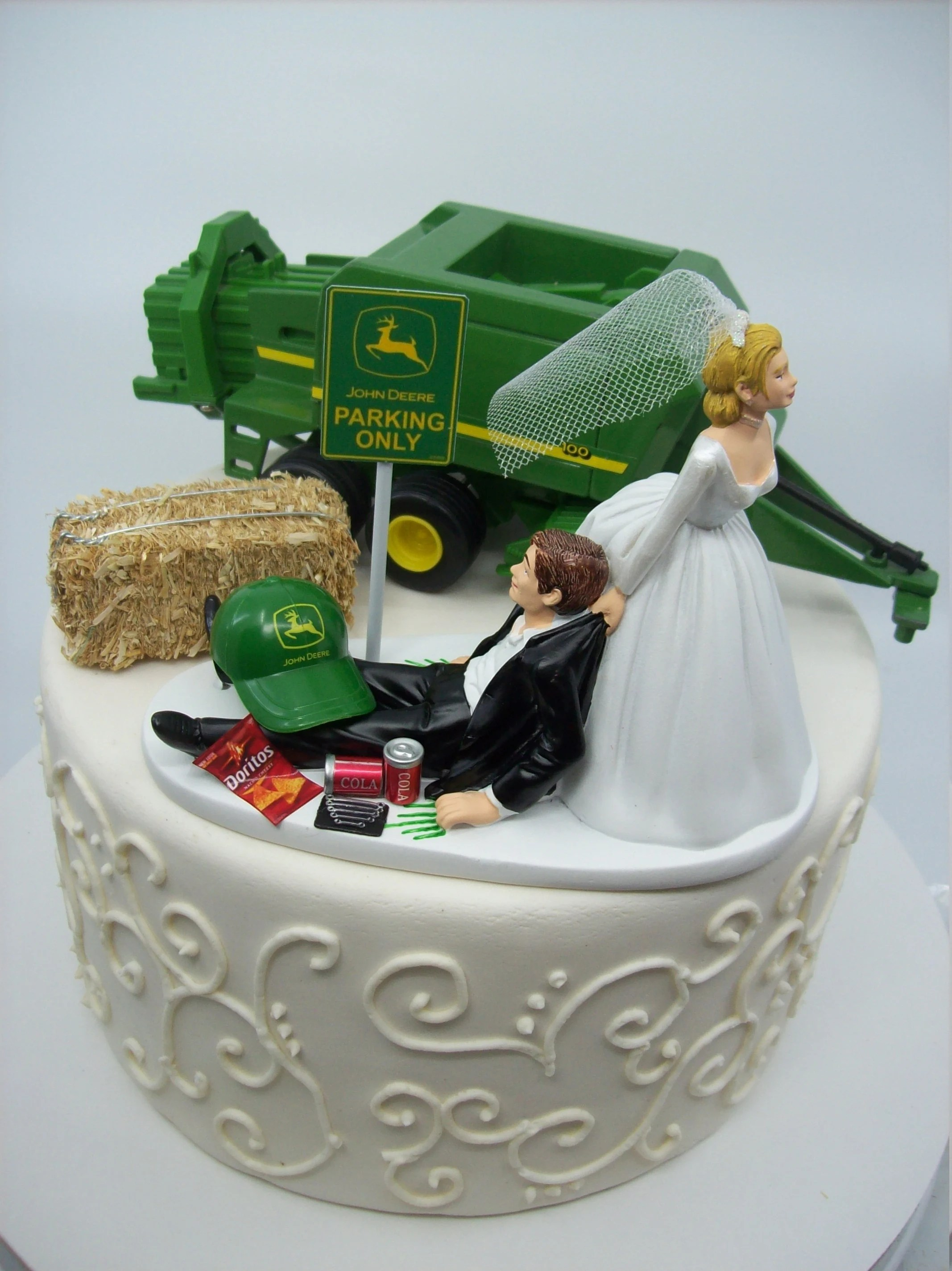 Bettwäsche Traktor John Deere No Farming John Deere Die Cast Metal Hay Baler Tractor And Digger Bride And Groom Wedding Cake Topper Funny