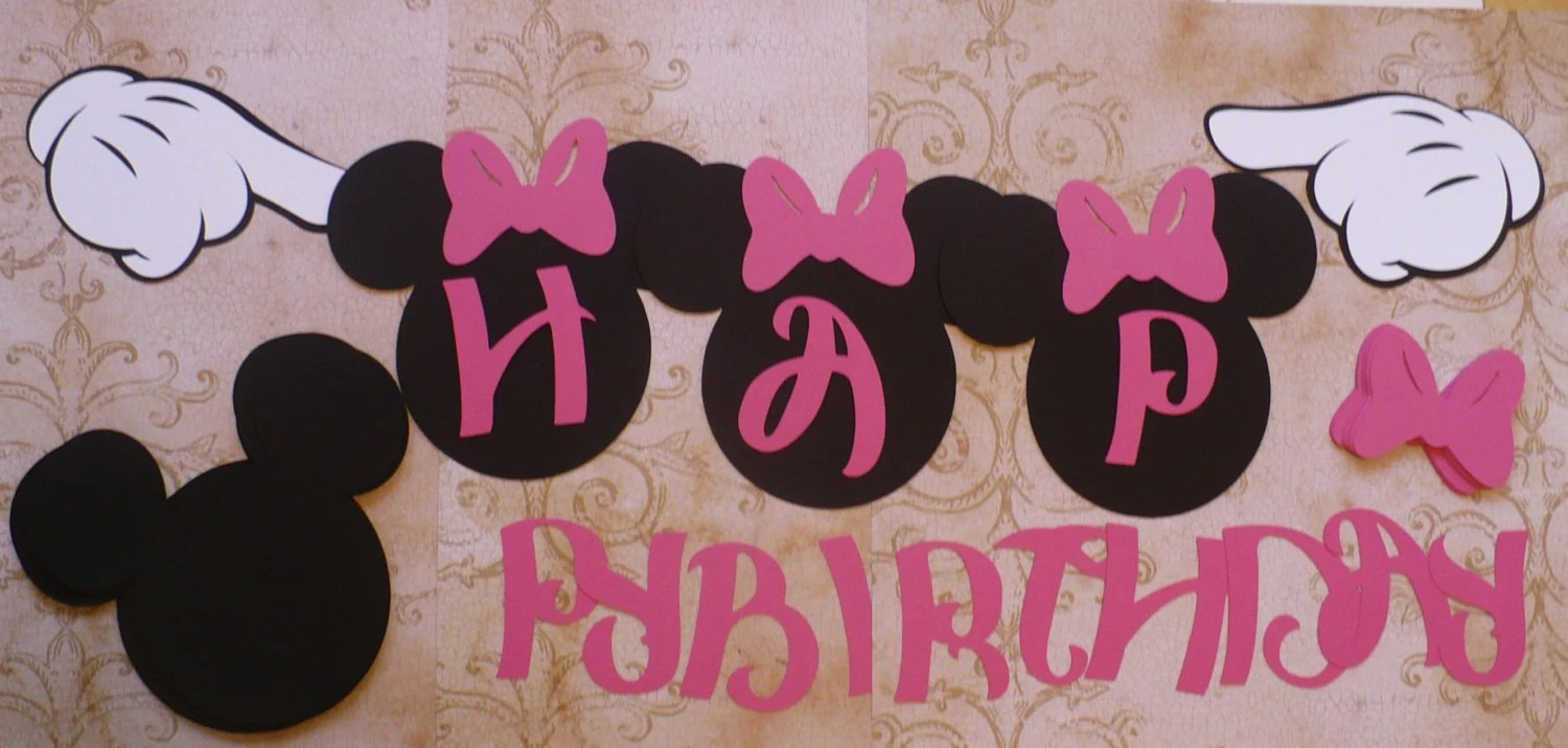 DiY HAPPY BIRTHDAY Banner Black Head Shapes Minnie Mouse Pink Etsy