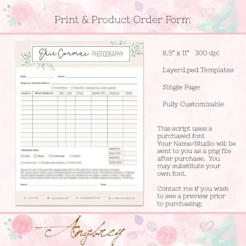 Print  Product Order Form, for Photographers, Photoshop Template, Instant  Download