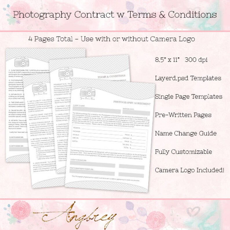 Contract Form for Photographers Photography Agreement Terms Etsy