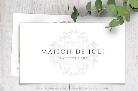 Versailles Elegant Feminine Damask Business Card Template for Etsy