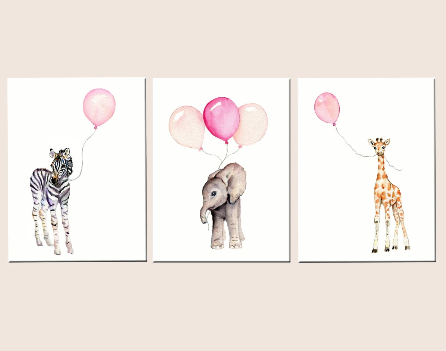 Nursery Prints Girl Nursery Decor Girl Baby Girl Nursery Wall Art Pastel Pink Watercolor Safari Nursery Prints Pink Nursery Girls Room Decor Pink And Gray