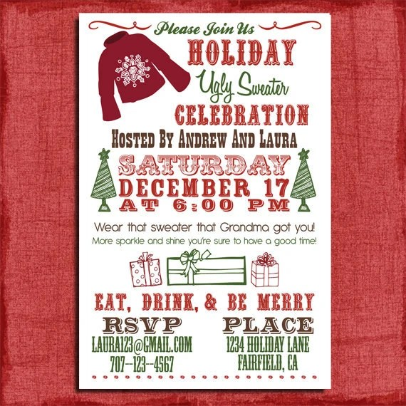 Holiday/Christmas Ugly Sweater Party Invitation 4x6 Etsy