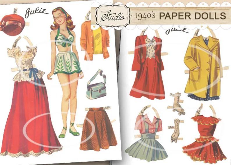 Vintage Paper Dolls Printable Cut-outs Paper Doll Clip Art Etsy