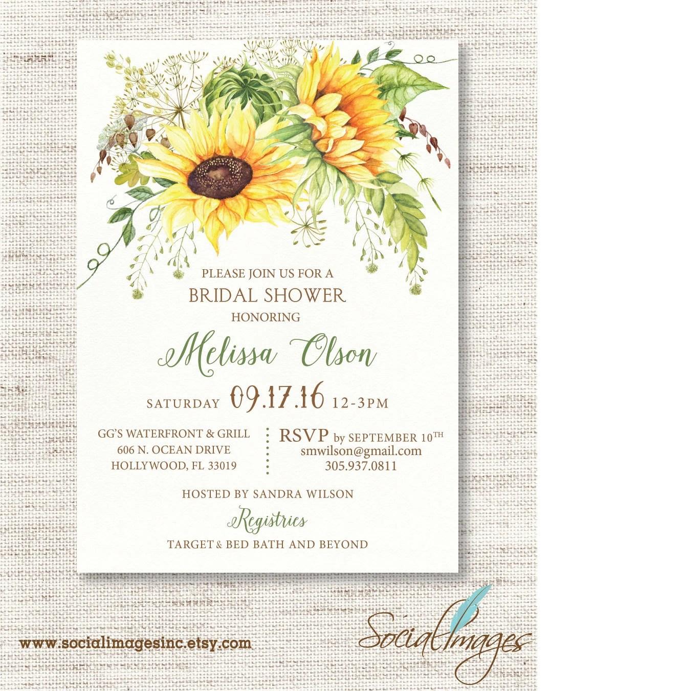 Sunflower Bridal SHOWER INVITATION Wedding Shower Invitation Etsy