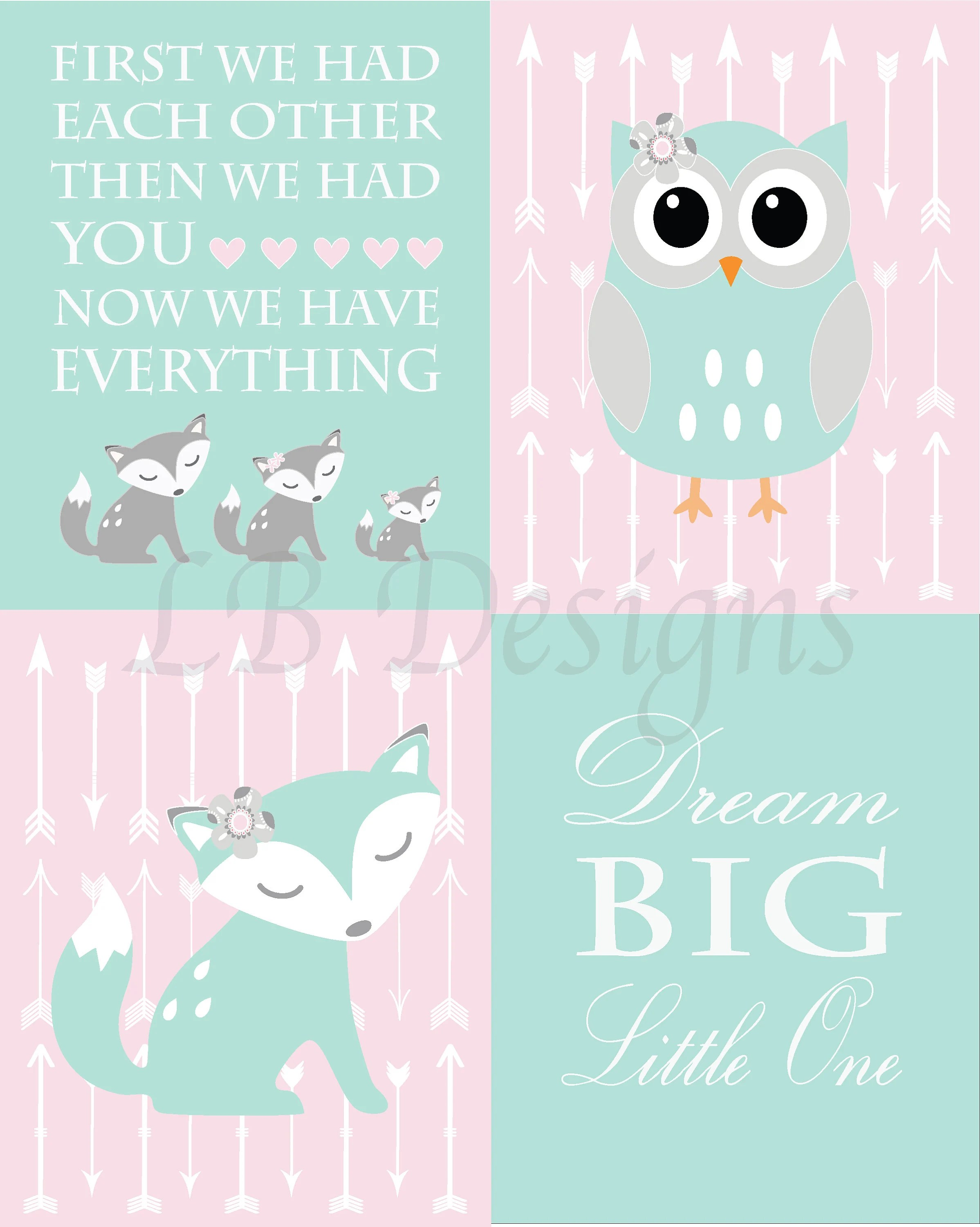 Nursery Prints Girl Baby Girl Woodland Nursery Print Girl Pink And Aqua Fox Nursery Decor Boho Nursery Decor Baby Fiona Fox Print