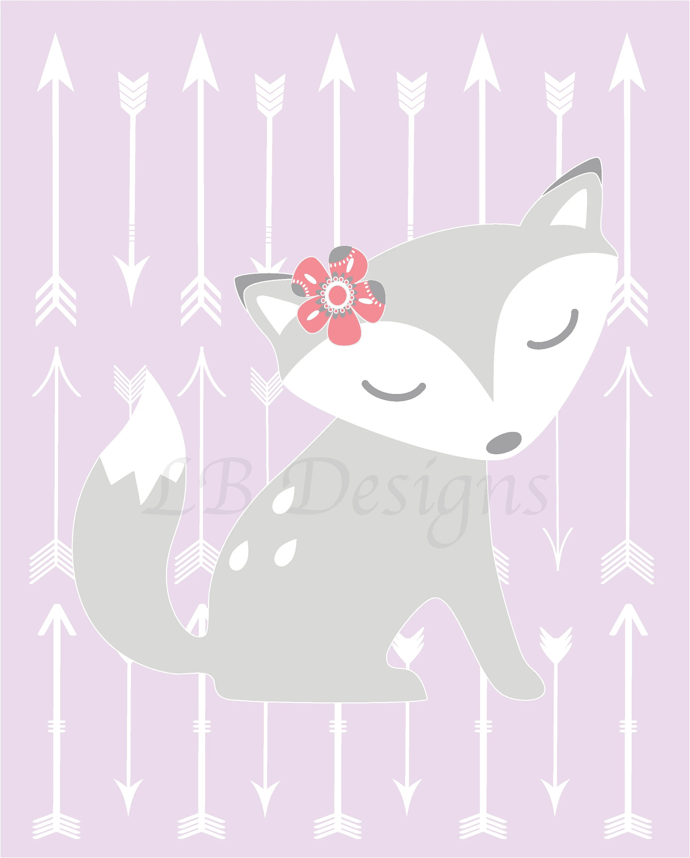 Nursery Prints Girl Baby Girl Fox Nursery Print Girl Woodland Nursery Decor Boho Nursery Art Purple And Gray Nursery