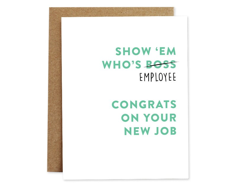 New Job Card Congratulations Greeting Card Employee Greeting Etsy