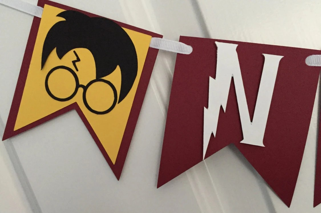 Wizard Inspired Name or Happy Birthday Banner Maroon and Etsy