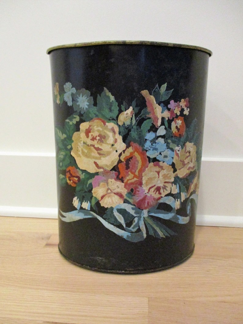 Shabby Chic Waste Baskets Vintage Trash Basket Can Bin Black Metal Tole Painted Flowers Roses Shabby Chic Waste Baskets Bathroom Garbage 4 Feet Rusty Chippy As Is