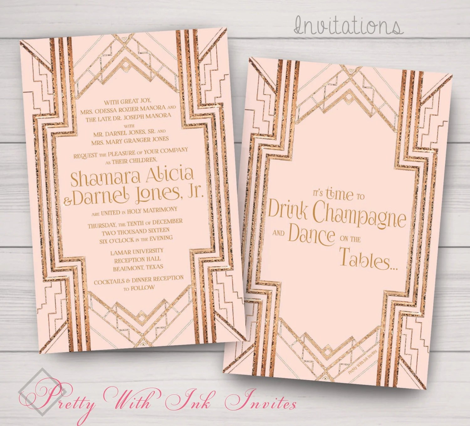 GATSBY/ROARING 20s Invitation Save the Date Program AND Etsy