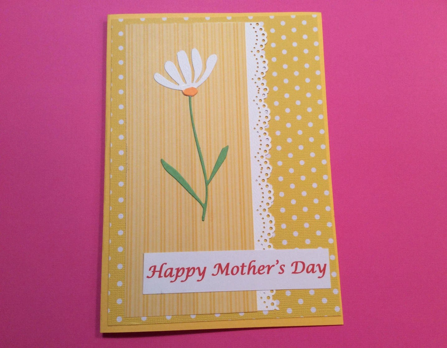 Handmade Mother\u0027s Day Card Yellow Polka Dots Flower Etsy