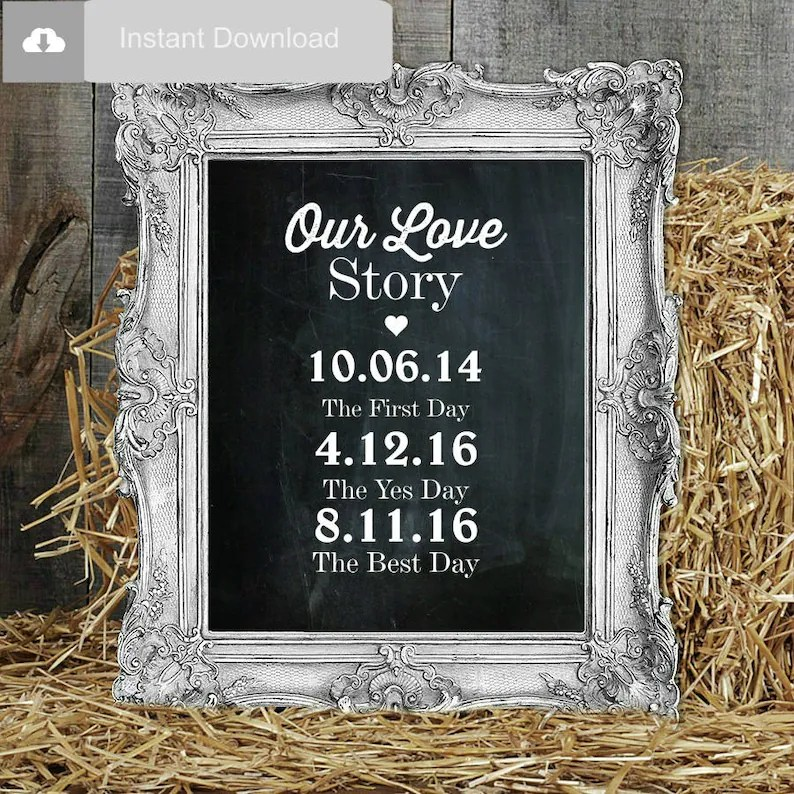 Wedding Sign Our Love Story Sign Wedding Printable Rustic Etsy