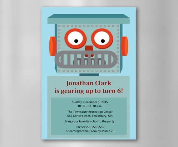 INSTANT DOWNLOAD Robot Birthday Invitation\u2014Printable, Customizable