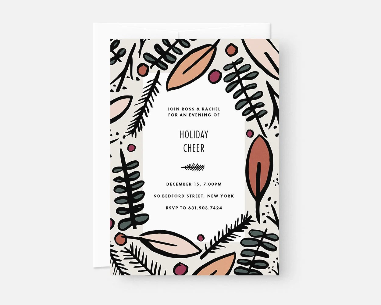 Printed Christmas Invitation Cards / Modern Holiday Party Etsy