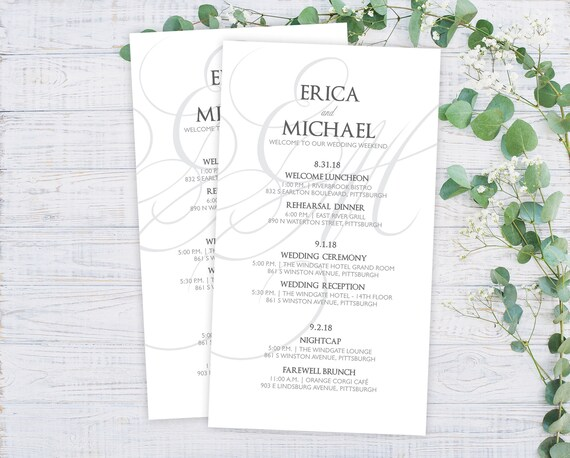 Elegant Wedding Itineraries - Wedding Schedule Cards - Welcome Cards