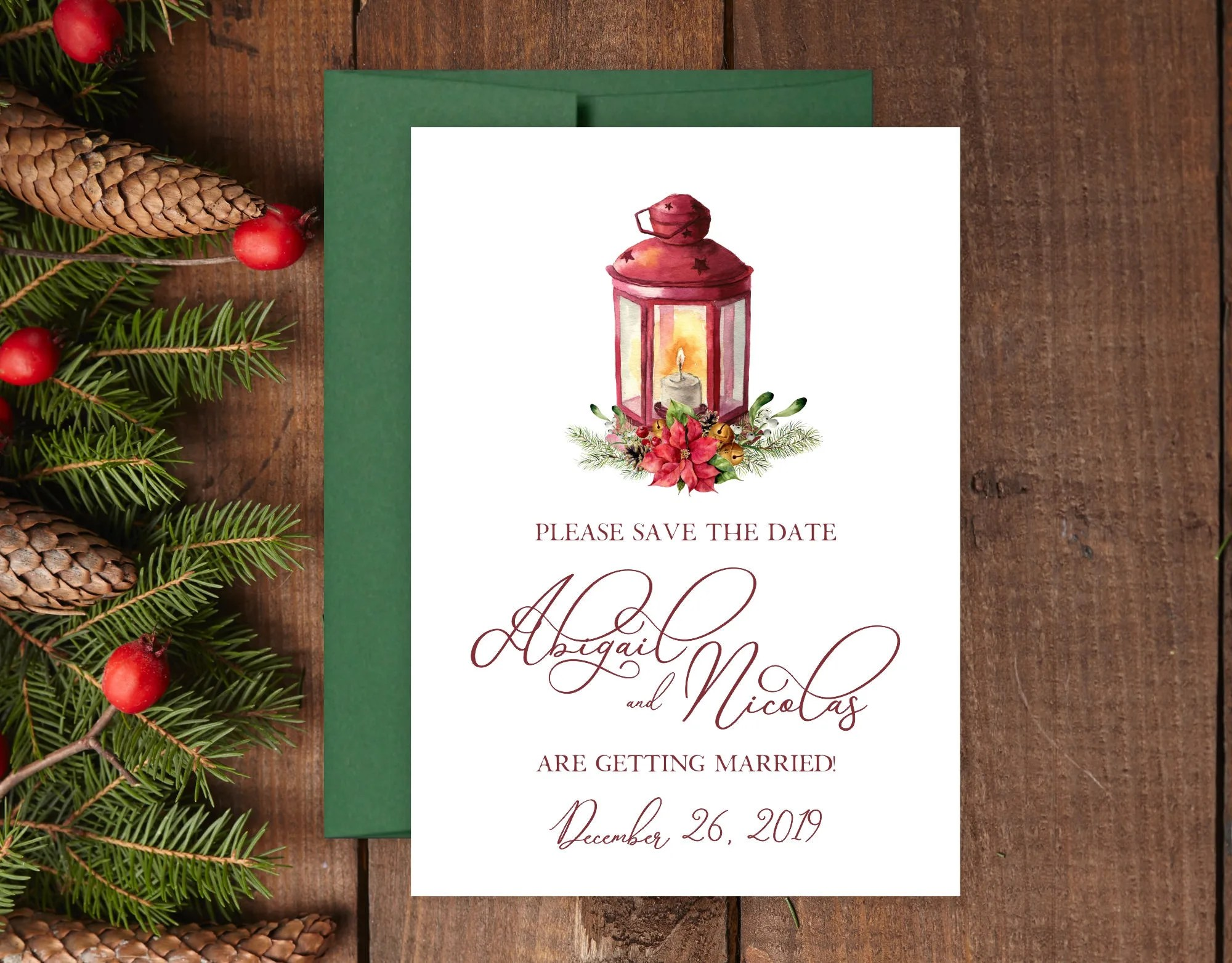 Holiday Wedding Save the Date, Holly Save the Dates, Christmas