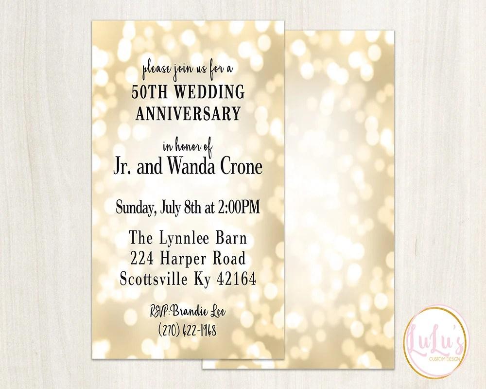 Gold 50th Wedding Anniversary Invitation Golden Wedding Etsy