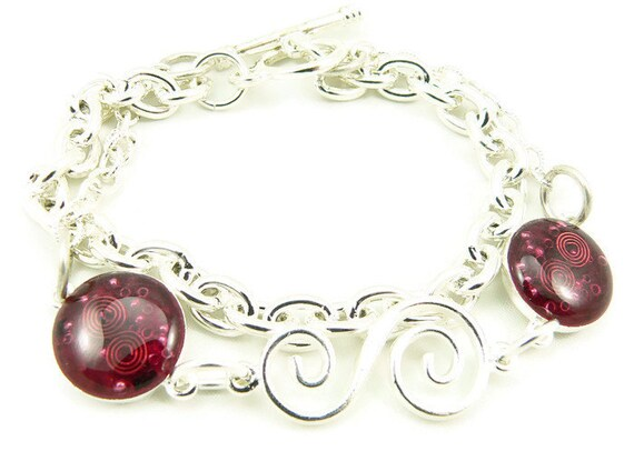 Orgone Energy Charm Bracelet Silver W Garnet Gemstone Etsy