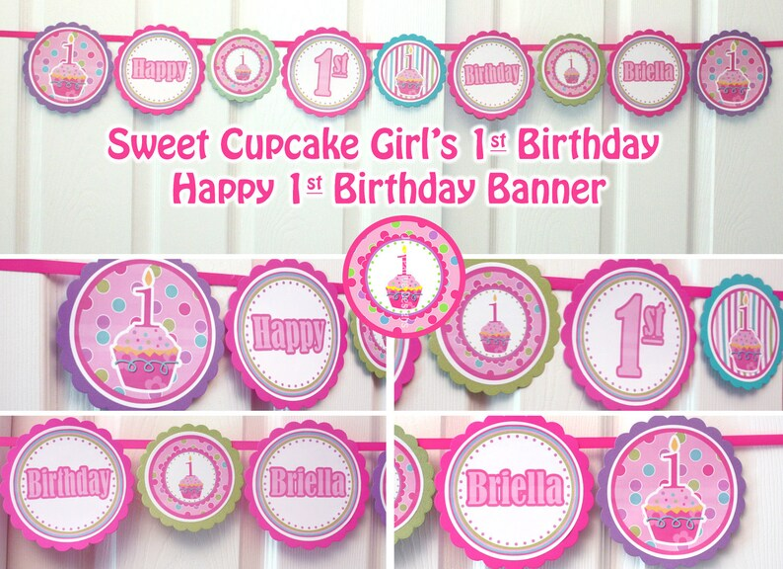 Happy birthday banner printable birthday banner girl cupcake Etsy
