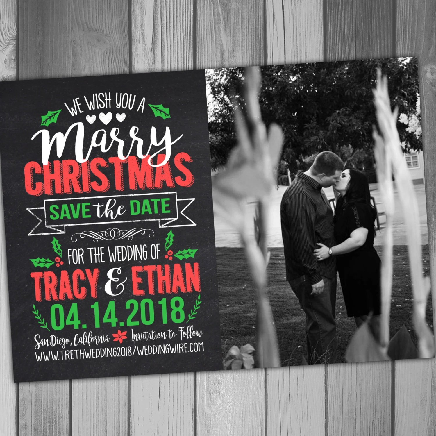 Christmas Save The Date Marry Christmas Wedding Save The Date