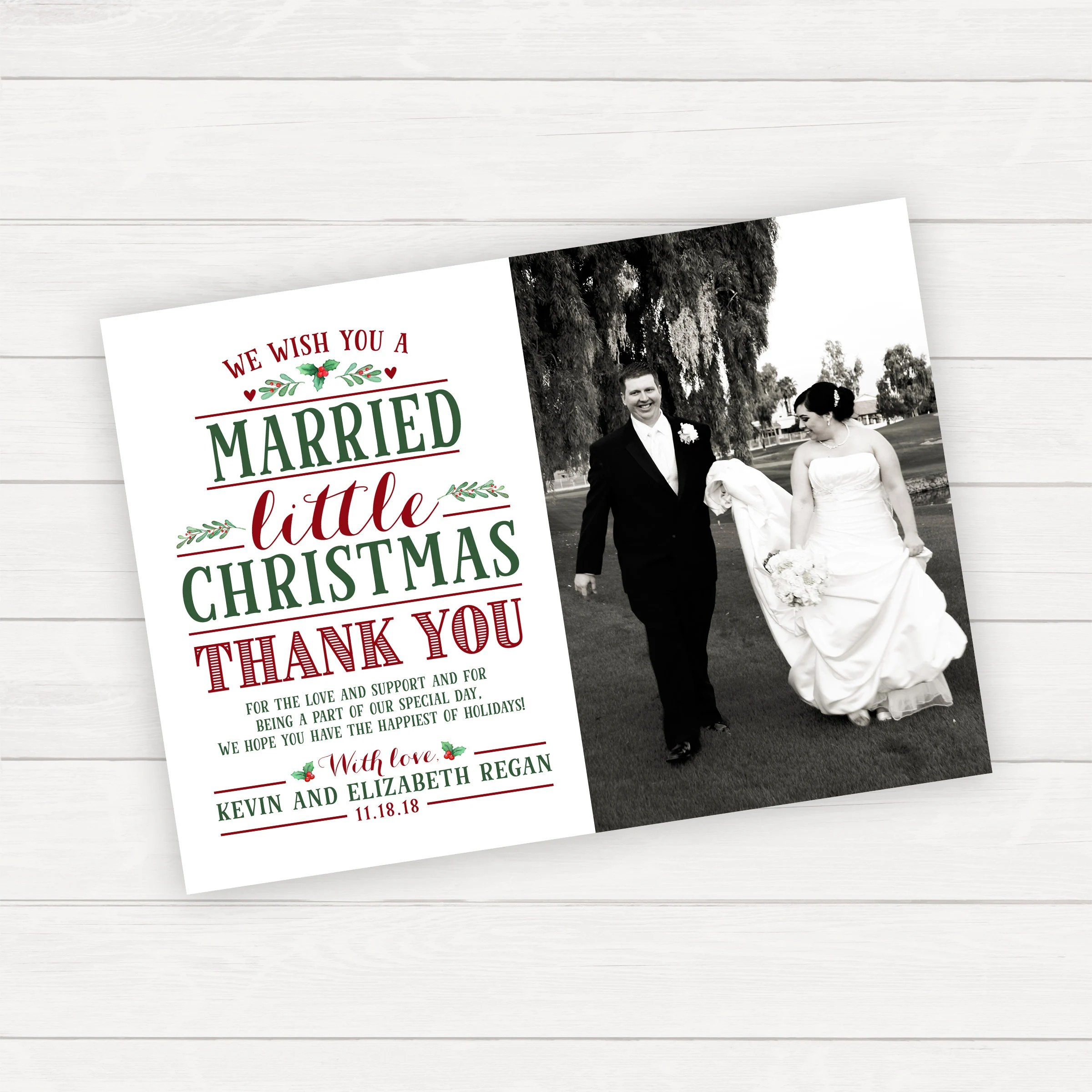 Married Little Christmas Wedding Thank You Card Christmas Etsy