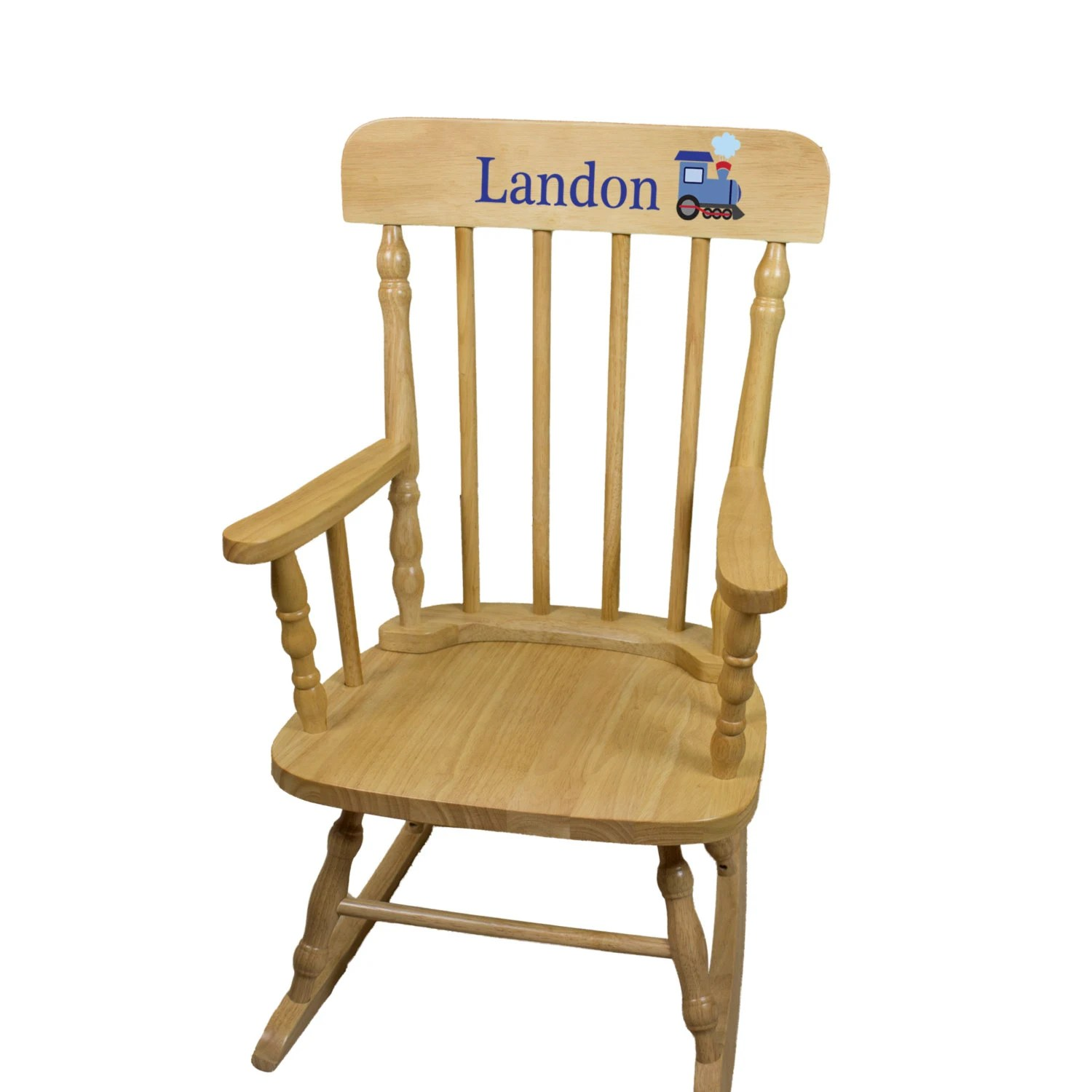 Nursery Wooden Rocking Chair Personalized Wood Rocking Chair W Childs Name Nursery Furniture Toddler Baby Girl Boy Kids Custom Spindal Rocking Chairs Rocker Spin Nat
