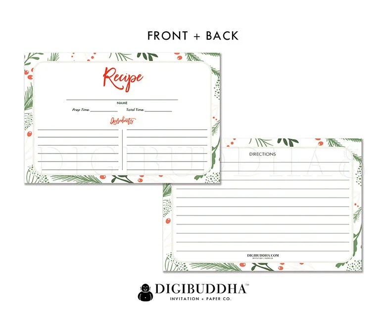Set of 25 Recipe Cards 4x6 Recipe Cards Printed Double Sided Recipe