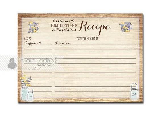 Rustic RECIPE CARDS Mason Jar Wildflowers Wood Shabby Chic Farmhouse