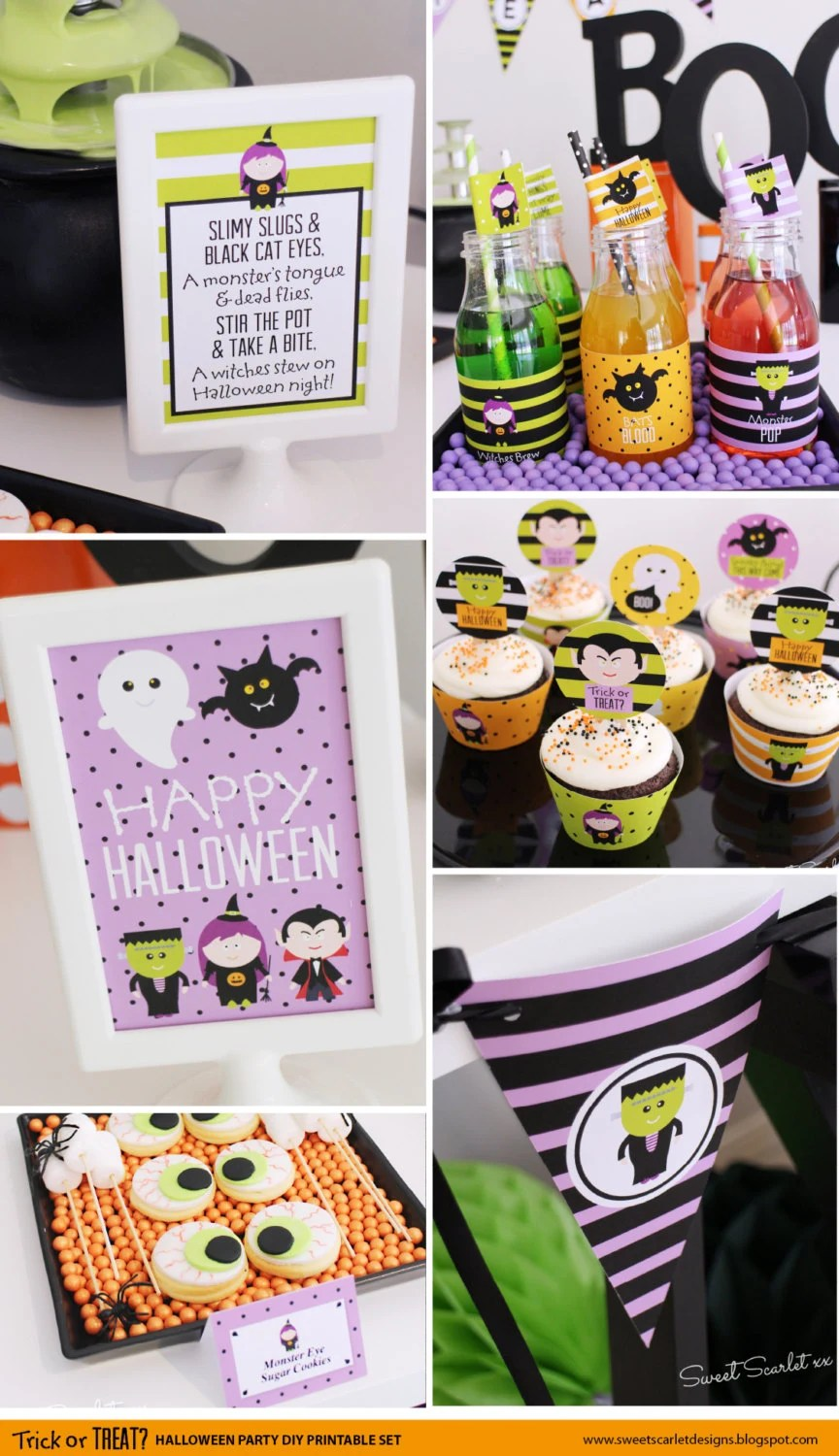 HALLOWEEN Printable Set - Trick or Treat cupcake toppers, favor tags