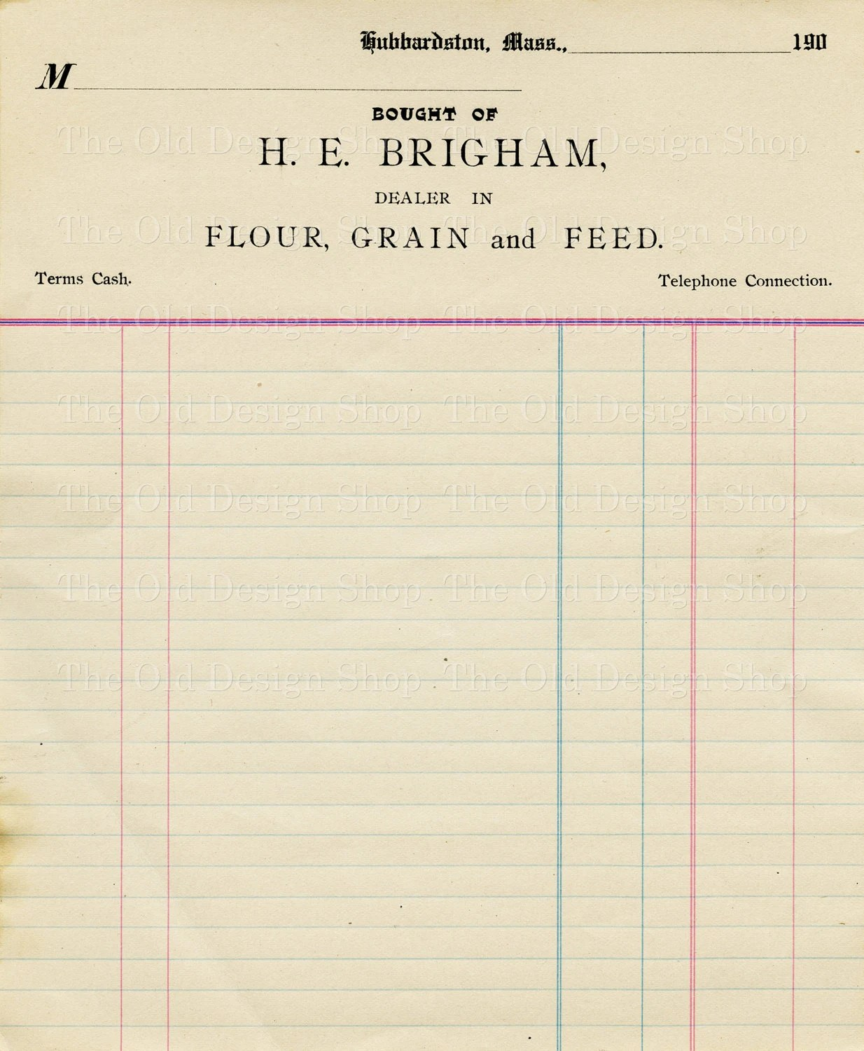 Vintage Accounting Ledger Page Printable Ephemera Brigham Flour
