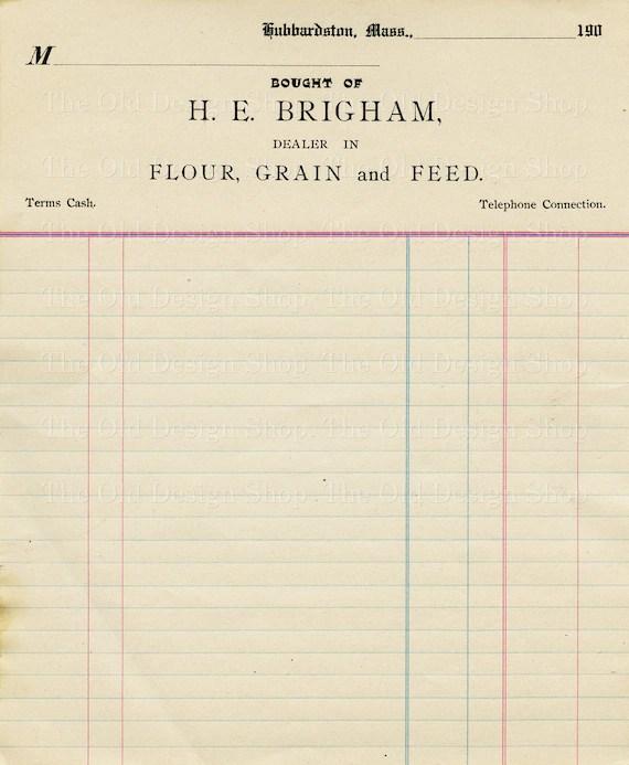Vintage Accounting Ledger Page Printable Ephemera Brigham Etsy - printable ledger pages