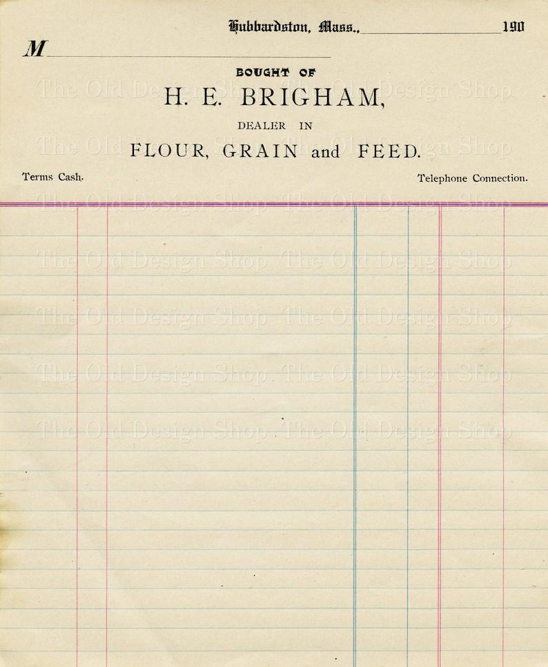 Vintage Accounting Ledger Page Printable Ephemera Brigham Etsy