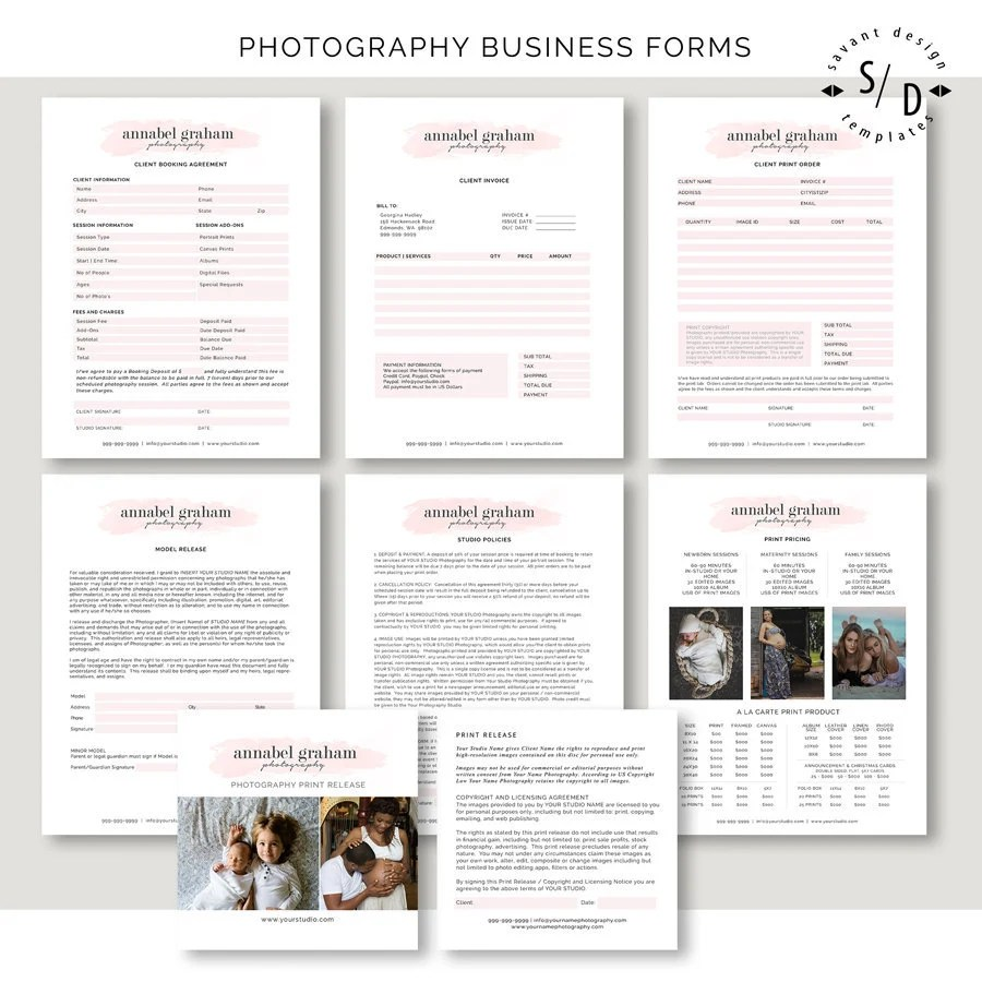 Photoshop Templates Photography Forms Contract Invoice Etsy