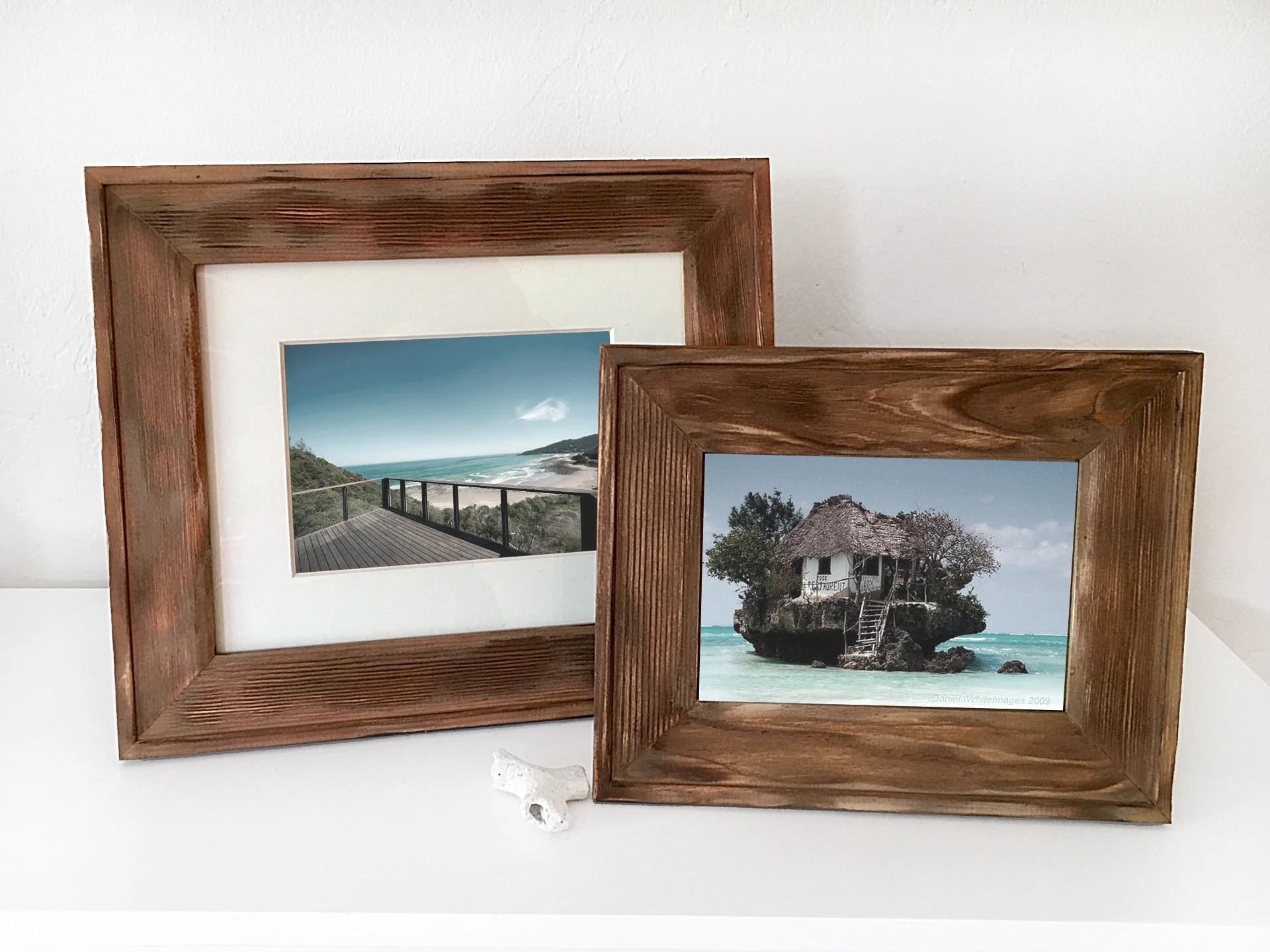Nautical House Decor Wood Picture Frame Brown Farm Style Nautical Beach Decor By