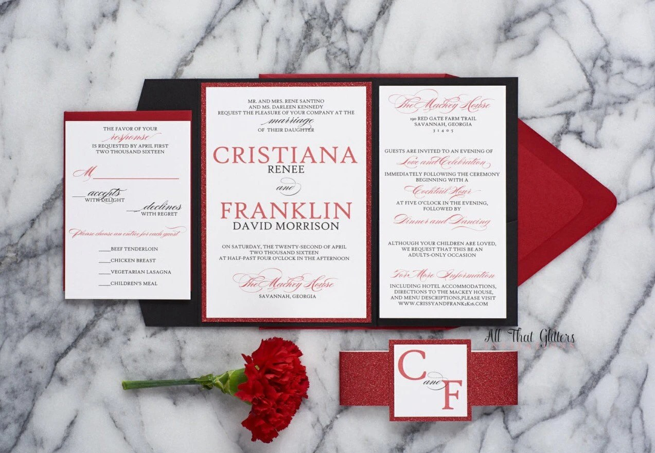 Red and Black Wedding Invitations suite Valentine\u0027s Day Etsy