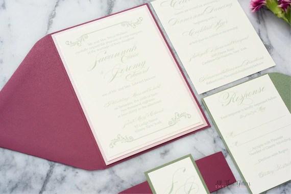 Elegant Swirl Wedding Invitations Scroll Design Dusty Rose Etsy