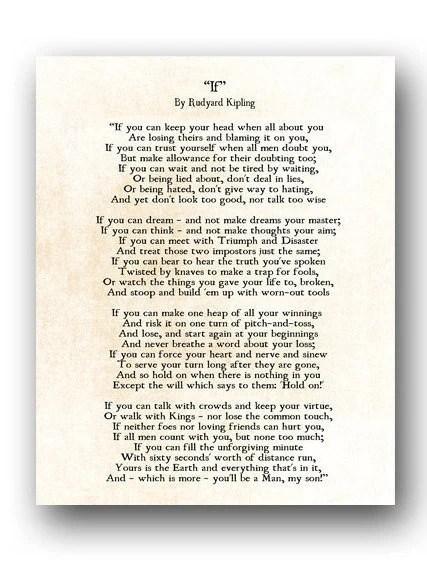 If Rudyard Kipling Poem Graduation Gift Literary Wall Art Etsy