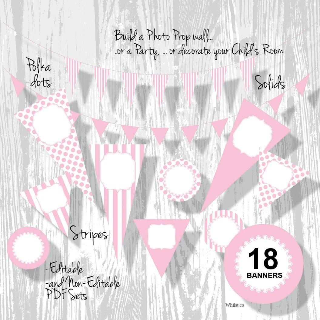 Pink Birthday Banner Party Banner PDF Editable Stripe Polka Dot