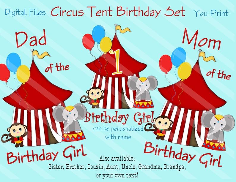 Circus Theme Birthday Printable Circus Tent Family Birthday Etsy