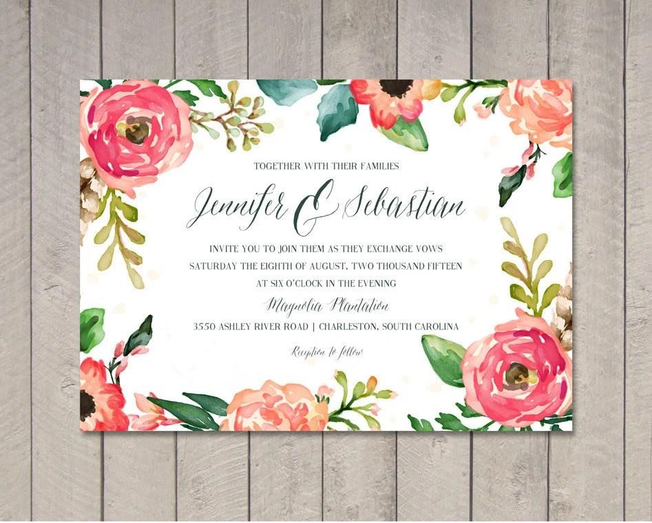 Watercolor Wedding Invitation Printable DIY by Vintage Sweet Etsy