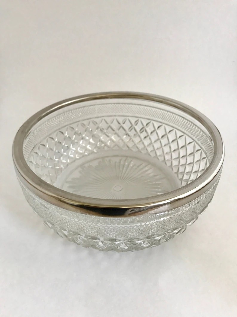 Decorative Glass Bowls Cut Glass Fruit Salad Bowl With Silver Plate Rim Vintage Decorative Glass Bowl Looks Like Crystal Made In England