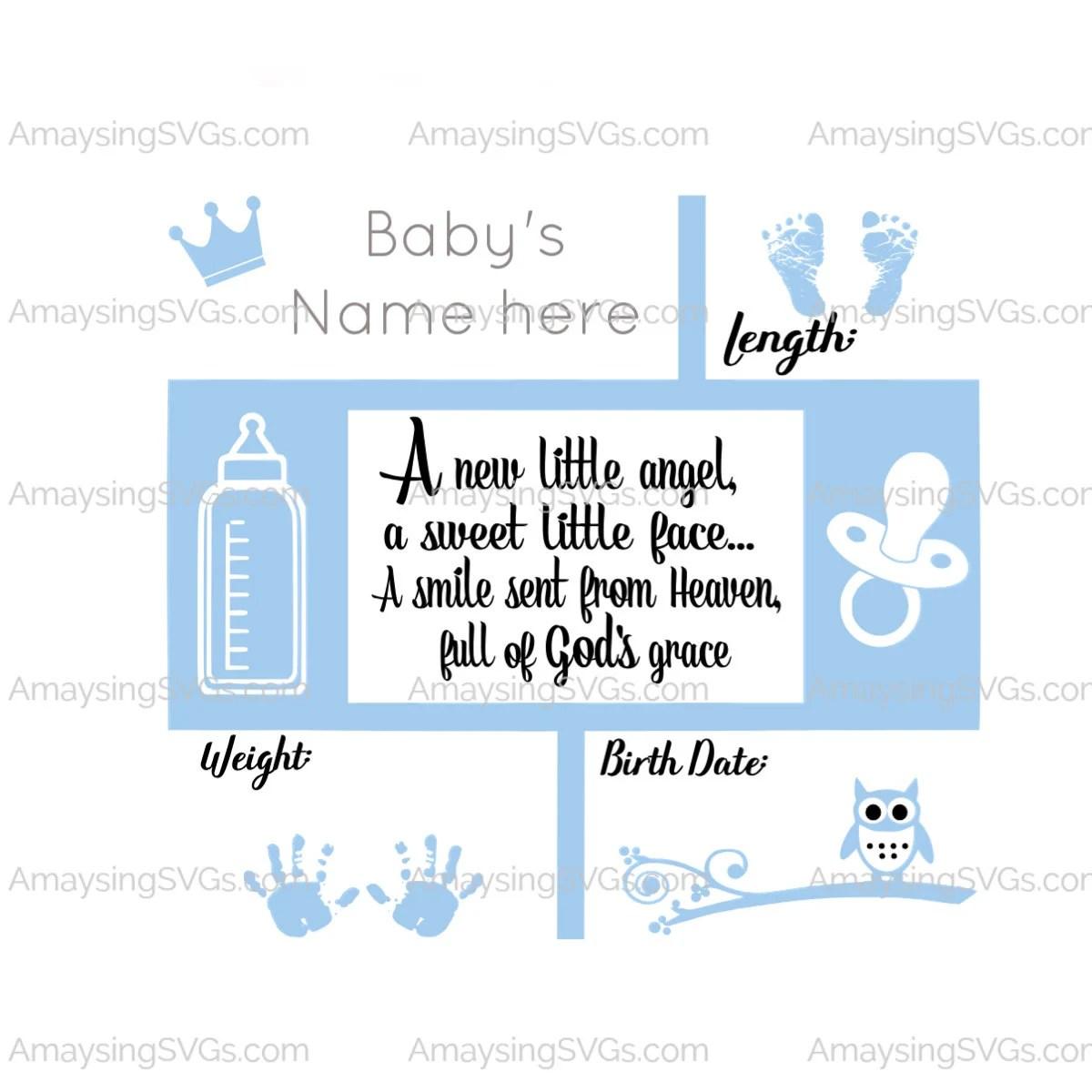 New Little Angel Birth Stats svg Baby Birth Stats svg New Baby Etsy