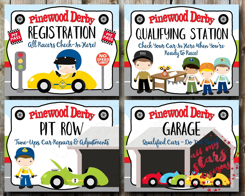 Cub Scout Pinewood Derby Signs DIY Derby Printables Etsy