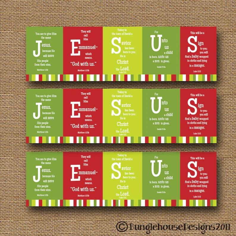 Printable Christmas Bookmark JESUS Scripture Bible Verse Etsy