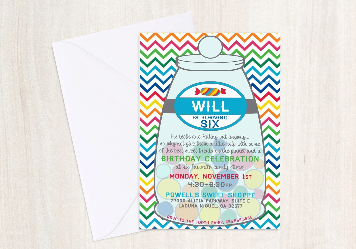 Custom Color Candy Invitation - Sweet Shop - Sweets Party