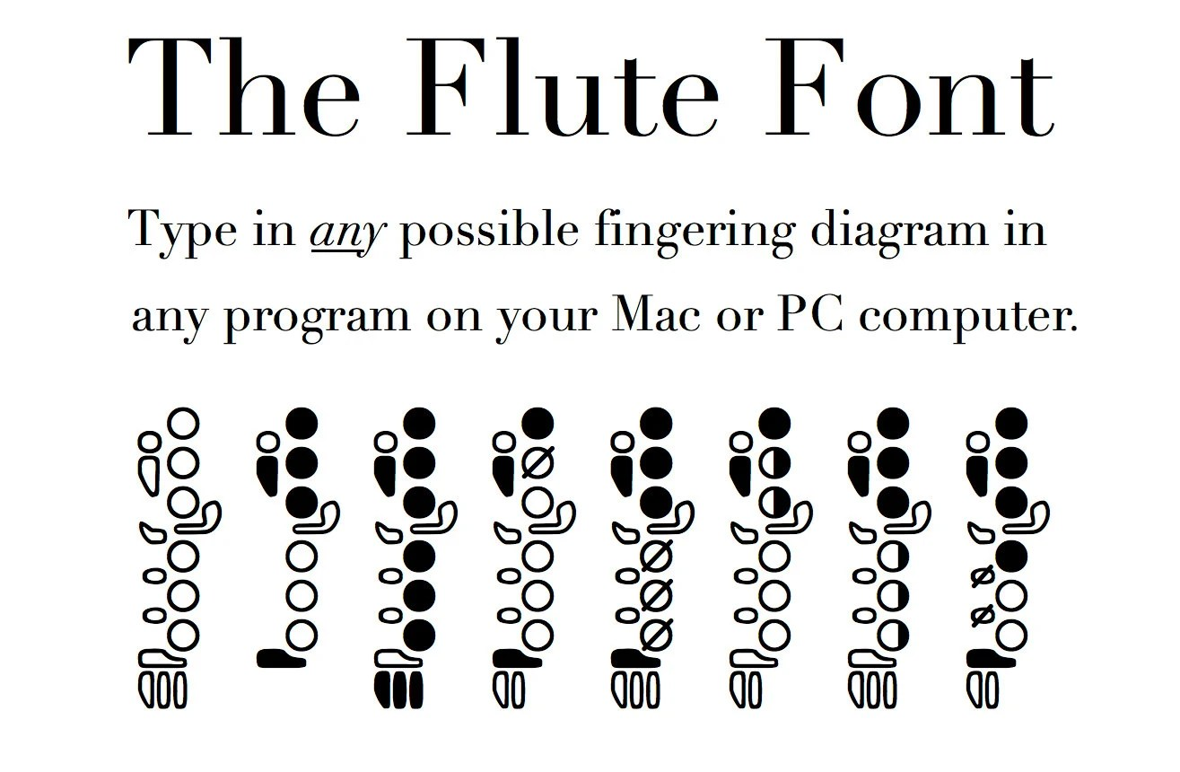 Flute Fingering Font Notate flute fingerings on a PC or Mac Etsy