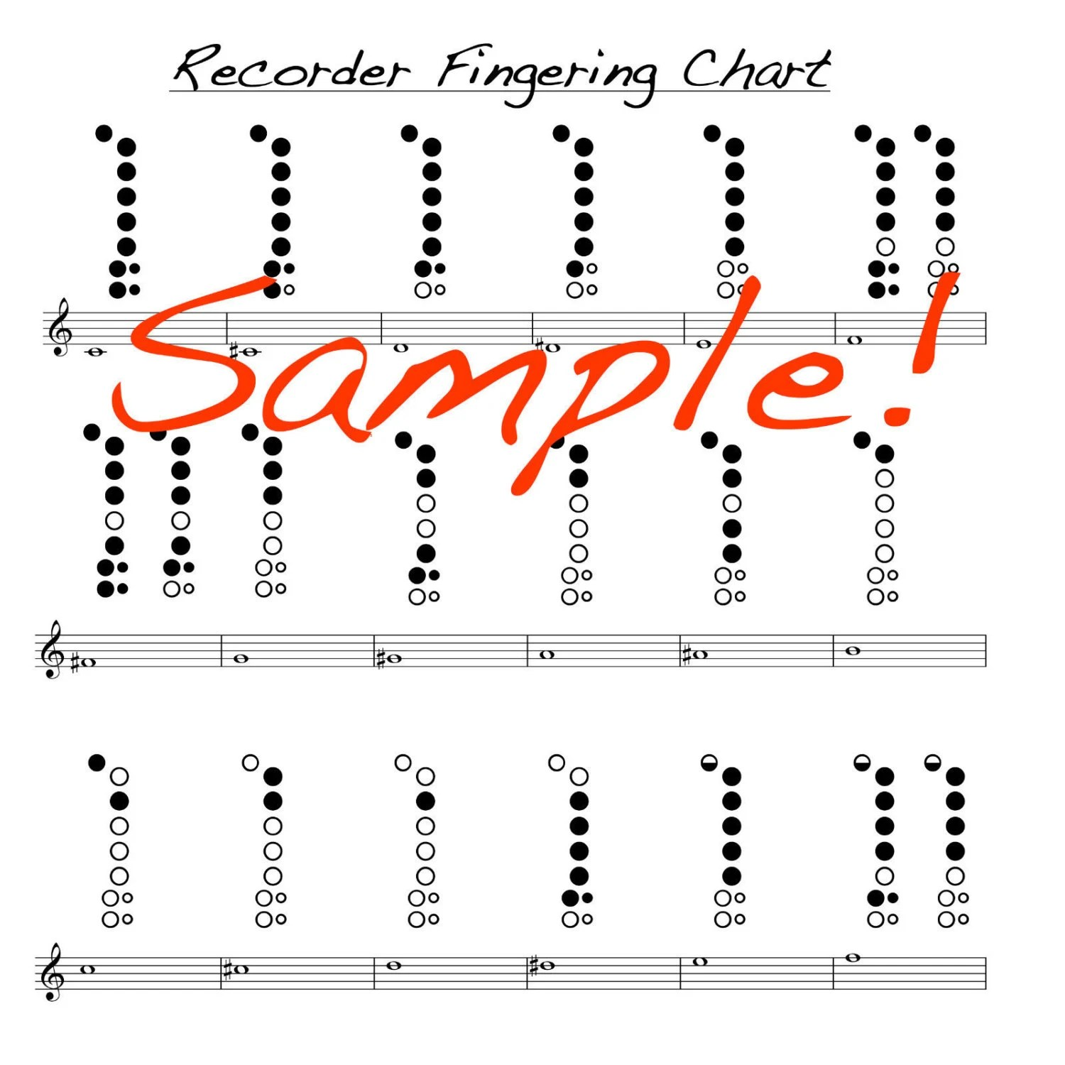 Mini Recorder Fingering Chart Double Sided Laminated chart Etsy