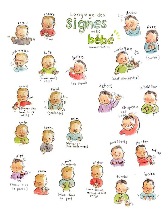 Baby sign language poster PRINTABLE French and English - baby sign language chart template