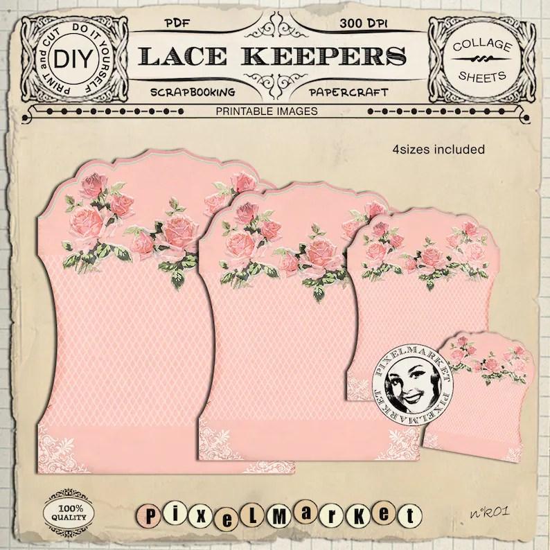Printable Lace Ribbon HOLDER Sewing Cliparts Printable Etsy